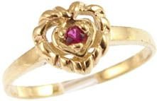 14k Yellow Gold, Heart Design Ring with Lab Created Round Red Colored Stone