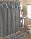 SINATRA BLING SILVER GREY FABRIC SHOWER CURTAIN FABRIC COVERED RINGS AREA RUG & CONTOUR RUG SET
