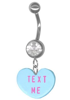 Text Me Valentine Candy Heart Clear Belly Ring-14g 3/8