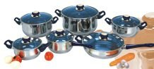 Gourmet Chef 12 Piece Stainless Steel Cookware Set with Bakelite Handles, Blue