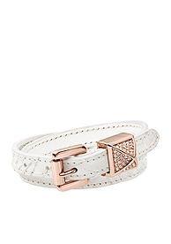Michael Kors Mkj2909 White Leather Pyramid Double Wrap Bracelet
