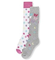 2 Pairs of Cotton Rich Butterfly Welly Socks