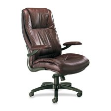 "Mayline Group Products - Executive High-Back Chair, 31""x32""x48-51"", Black Leather - Sold as 1 EA - Ultimo Executive High-Back Chair features sculpted dual-density foam, genuine top-grain cow leather upholstery, built-in lumbar support, and leather padded"