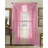Pink light pink scarf voile window panel solid sheer valance curtains