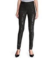 M&S Collection Faux Snakeskin Print Pull On Coated Denim Jeggings