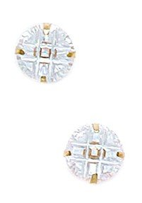 14k Yellow Gold 7mm 9 Segment Round CZ Light Prong Set Earrings - JewelryWeb
