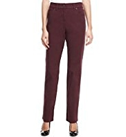 M&S Collection Cotton Rich 2-Way Stretch Straight Leg Trousers