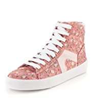 Lace Up High Top Floral Trainers