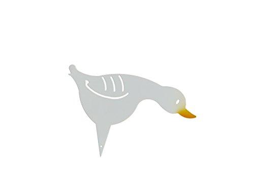 """Gartenstecker Beetstecker Gans """"Caligula"""", diese Martinsgans / Ente, dieser Erpel, Enterich, Vogel, dieses Küken ist ein echtes Schnäppchen als Präsent für Ihre Frau und auch zu Weihnachten eine besondere Geschenkidee. Ein wunderschönes Geschenk aus Metall auch zum Geburtstag. Witterungsbeständig statt Rostoptik, für Ihren Garten, als Deko vor Ihrer Haustür als Blickfang am Teich oder vor dem Brunnen."""