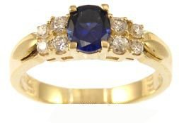 14k Yellow Gold, Simple Classic Design Ring with Lab Created Oval Shape Navy Blue Colored Stone