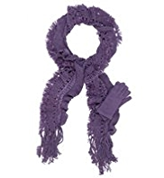 Per Una Metallic Effect Ruffle Scarf & Gloves Set