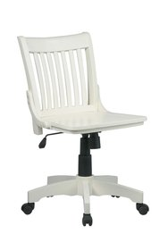 Deluxe Armless Wood Bankers Chair with Wood Seat Antique White