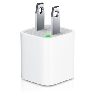 White USB Cable Power Adapter (Wall Charger Adaptor with fixed blades) for Apple iPod, iPhone, iPhone 3G, iPhone 4,Touch, Shuffle, Nano, Classic