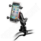 RAM Handlebar Rail Mount with Zinc Coated U-Bolt Base and Universal X-Grip(TM) Cell Phone Holder