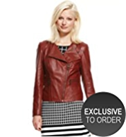 Autograph Leather Textured Biker Jacket