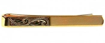 Half Engraved Gold Tie Bar
