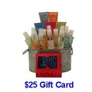 Bath and Body Works Variety Gift Basket with $25 Gift Card