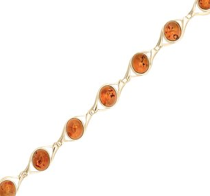 18ct gold generously plated amber bracelet hidden gem