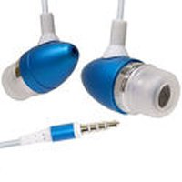 Premium Blue 3.5mm Aluminum Handsfree Stereo Headset Headphone Earphone with Builtin Microphone Remote for Apple Ipod Touch Itouch 2nd 3rd gen Iphone 3g 3gs Zune Mp3 Player PDA