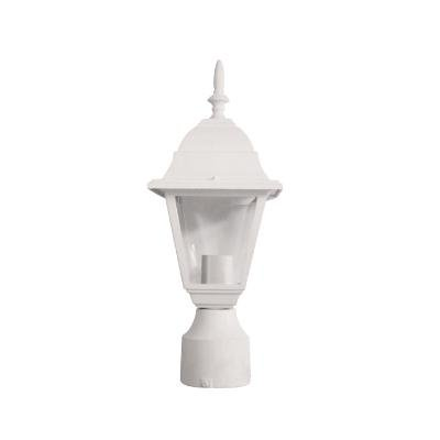 Sunlite ODI1160 15-Inch Decorative Light Post Outdoor Fixture, White Finish with Clear Glass