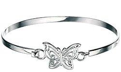 Girls Jewelry - Sterling Silver Diamond Filigree Butterfly Bangle