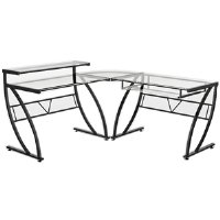 Buy Low Price Comfortable Z-Line Belaire Glass L-Shaped Computer Desk (B0019MAUTE)