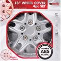 """SET OF 4 X 13 INCH ALLOY LOOK CAR WHEEL TRIMS/COVERS/SILVER 13"""" HUB CAPS TP"""