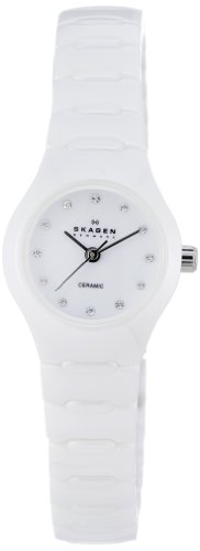 Skagen Ladies White Ceramic Watch 816XSWXC1 with Crystal Accented White Dial