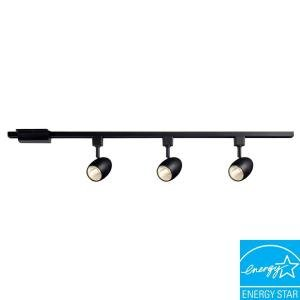 Hampton Bay 3-Light 39.37 in. Black LED Dimmable Track Lighting Kit