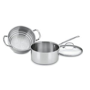 Cuisinart 77-35CG Chef's Classic Stainless 3-Piece 3-Quart Steamer Set (Sauce Pan With Steamer compare prices)
