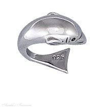 Sterling Silver Nonpiercing 9mm Graduated High Polished Dolphin Ear Cuff