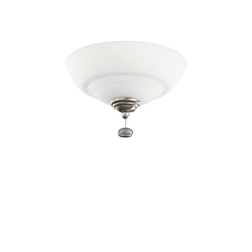 Kichler Lighting 380125AP Bowl 3-Light Ceiling Fan Light, Antique Pewter Finish with White Etched Glass Shade, Large