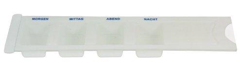 Medikamentendispenser Tablettenbox Pillenbox Tages - Dispenser norm mit 4 Fächer weiss mit Deckel -- 5 er SET