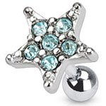 Aqua Multi Crystal Paved Star Cartilage / Tragus Upper Ear Earring Bar