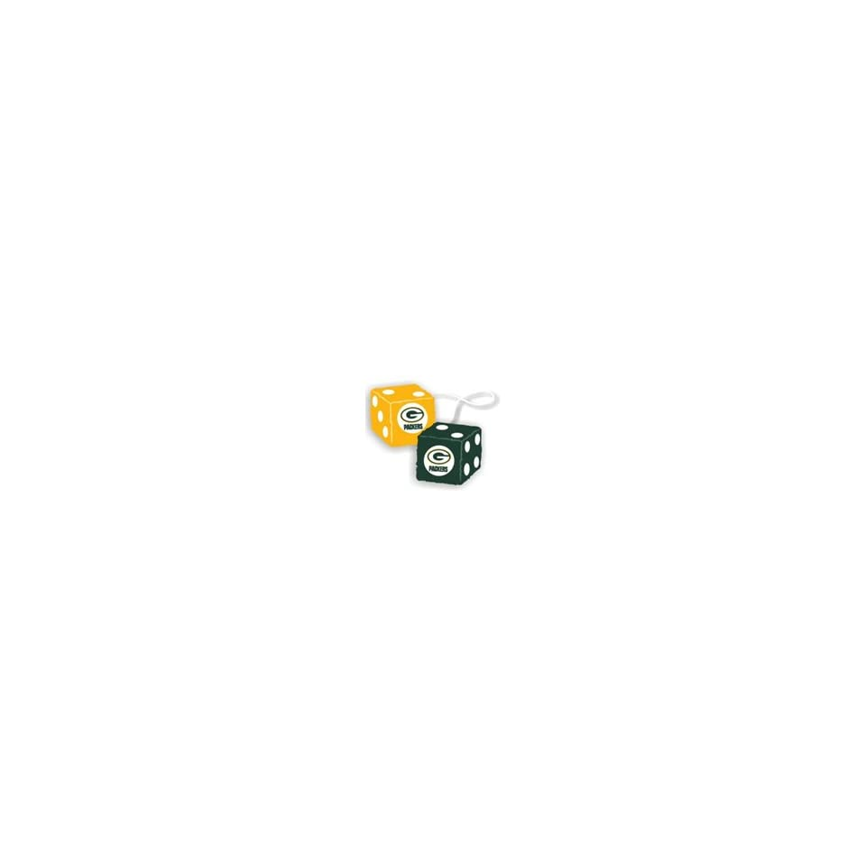 Official NFL National Football League Licensed Team Logo Fuzzy Dice shape Mirror Danglers   Green Bay Packers