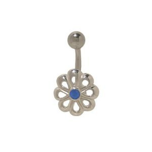 Sterling Silver Flower Belly Button Ring with Blue Cz Jewel
