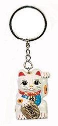 Poly Resin Lucky Cat Key Chain / White Cat