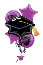 Purple Congrats Grad Balloon Bouquet - 1