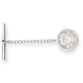 Rhodium-plated Elks Tie Tack - JewelryWeb
