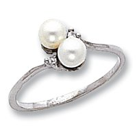 Genuine IceCarats Designer Jewelry Gift 14K White Gold 4Mm Pearl Aa Diamond Ring Size 6.00