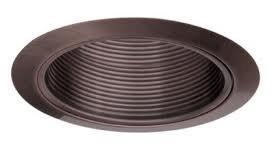 "Elco Lighting Elm30Bz Recessed Lighting Trim, 6"" Line Voltage Metal Step Baffle Trim - Bronze"