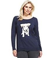 Plus Dog Print Jumper with Angora