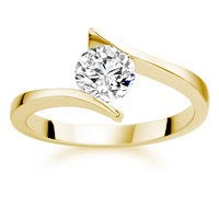 0.62 Carat F/VS1 Round Brilliant Certified Diamond Solitaire Engagement Ring in 18k Yellow Gold