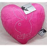 PLAYBOY HOT PINK HEART SHAPED CUSHION WITH DIAMANTE RABBIT HEAD