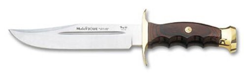 Muela 11.75-Inch Bowie Fixed Blade Knife, Coral Packawood Brass With Bloodgroove