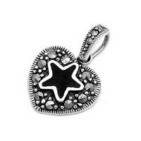 24MM .925 STERLING SILVER LARGE STAR BLACK ONYX BUNNY PINK HEART RAINBOW TOPAZ CZ MARCASITE STONE CZ ROSES VINE ARROW LOVING PENDANT