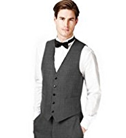 5 Button Textured Waistcoat with Wool