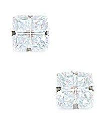 14k White Gold 6x6mm 4 Segment Square CZ Light Prong Set Earrings - JewelryWeb
