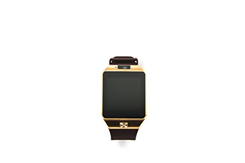 PHtronics Bluetooth Smart Watch with Camera for Samsung S5 / S6 / S6 Edge / Note 2 / 3 / 4, Nexus 6, Htc, Sony and Other Android Smartphones, Gold