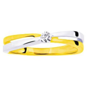 So Chic Jewels - Ladies 9k Yellow & White Gold 0.08 ct Diamond Solitaire Two-tone Engagement Ring